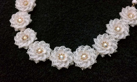 Mod Costume Jewelry Vintage White Plastic Snowflake Flower Rhinestone Choker Necklace Gold Tone Mid-Century Modern | Antiques & Vintage Collectibles | Scoop.it