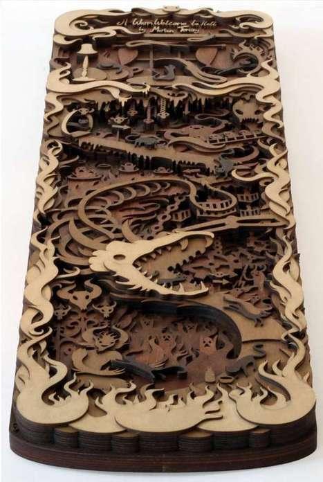 3D Multi-Layered, Laser-Cut Woodwork Scenes and Animals   Design   Scoop.it