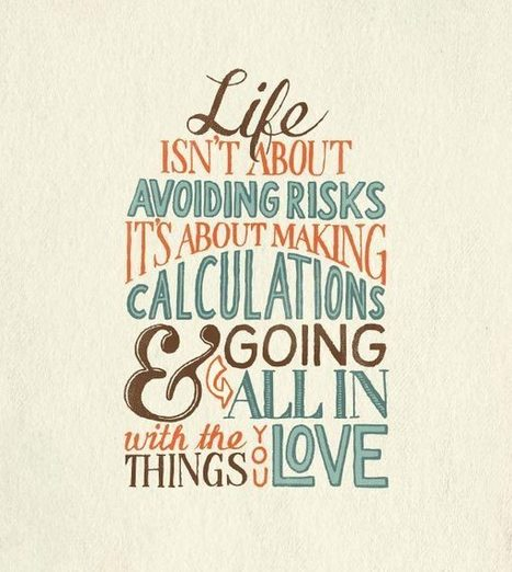 Life isn't about avoiding risks, it's about ... | catnipoflife | Scoop.it