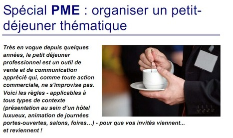 Spécial PME : organiser un petit déjeuner thématique   Time to Learn   Scoop.it