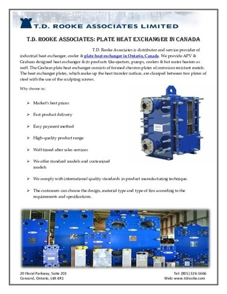 T.D. Rooke Associates: Heat Exchanger in Ontario | Manufacturing equipment distributors | Scoop.it