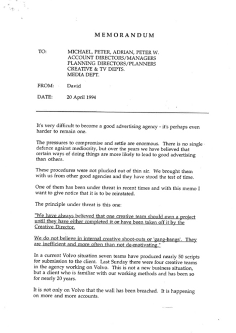Creative Review - David Abbott memo warns of future adland mediocrity | I Wish I Thought Of That! | Scoop.it
