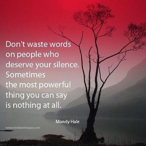 Don't Waste Words On People Who Deserve Your Silence | Peak Performance | Scoop.it