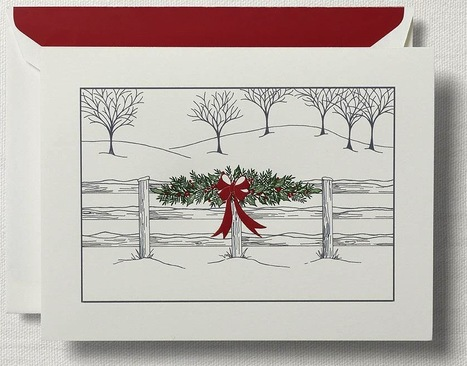 Hand Engraved Horse Holiday Fence Greeting Cards from Crane & Co. | Horse Product News | Scoop.it