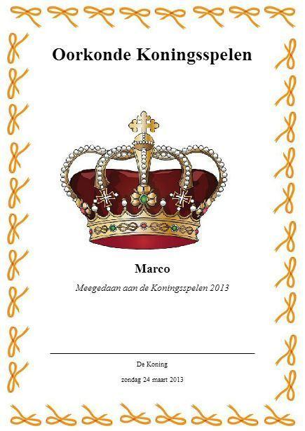 Koningsspelen Diploma Koningin Beatrix Koni