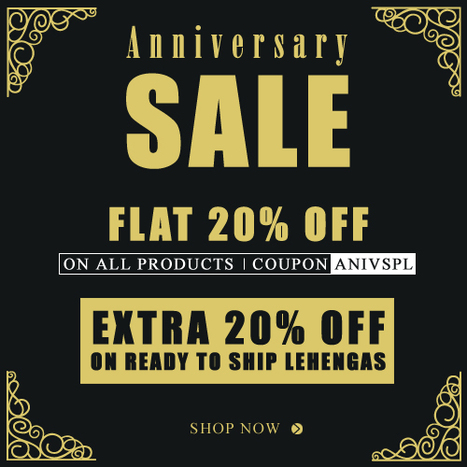 Make your celebration unique with BharatPlaza's Anniversary Offer on Ready to Ship Lehengas | Deals, Offers & Updates | Scoop.it
