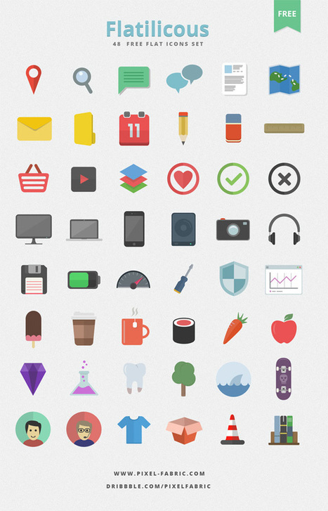Download 48 Free Flat Icons by Pixel Fabric | text effects, ui things | Scoop.it
