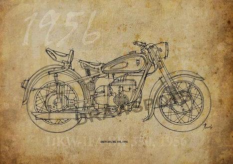 DKW-IFA BK 350 1956, Based on my Original Handmade Drawing, Art Print 11.5x16in, year 1956 | Ducati Art | Scoop.it