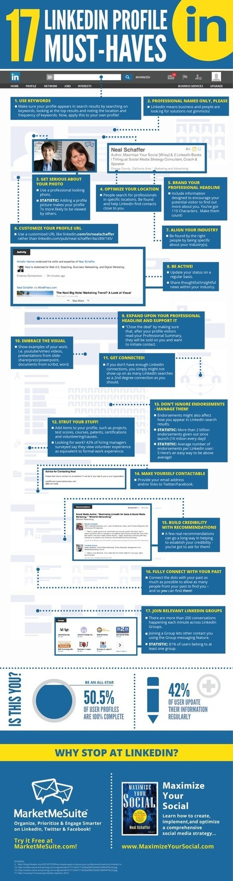 17 LinkedIn Profile Must-Haves - Blog About Infographics and Data Visualization - Cool Infographics | Social Media sites | Scoop.it