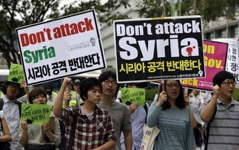 South Korea rally against USA aggression on #Syria #photo #Siria   Unthinking respect for authority is the greatest enemy of truth.   Scoop.it
