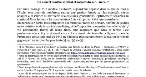 Nouvelles formes du travail et de protection des actifs<br/>&quot;Travail et droit du travail de demain<br/>Autonomie, sur-subordination, sub-organisation ?&quot; | Dialogue Social | Scoop.it