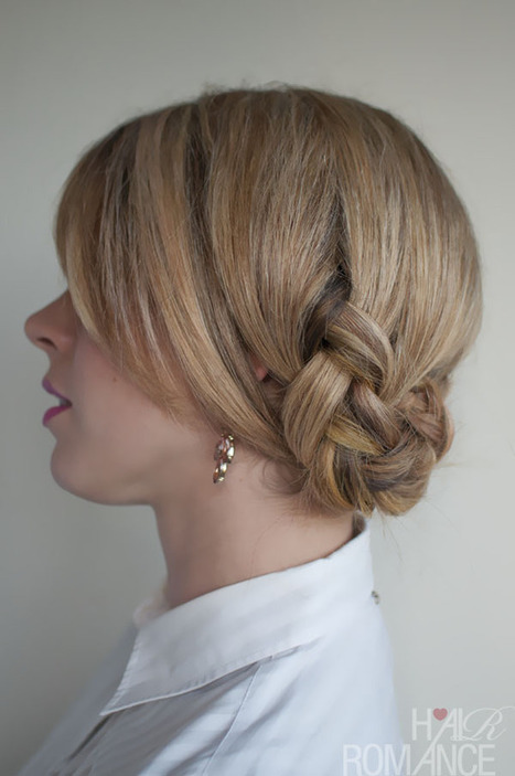 Twisted Braided Updo with Bangs – Romantic Braided Updo | women trendy hairstyle | Scoop.it
