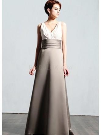 Gray V-neck Satin Floor Length Womens Bridesmaid Dress - bridalok.com | lovely girl | Scoop.it