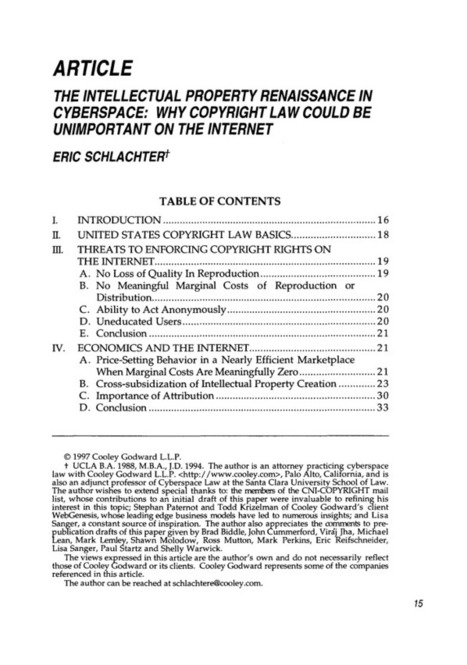 12 Berkeley Technology Law Journal 1997 Intellectual Property Renaissance in Cyberspace: Why Copyright Law Could Be Unimportant on the Internet, The Symposium: Digital Content: New Products and New... | Regulación de la Propiedad Intelectual en Internet | Scoop.it
