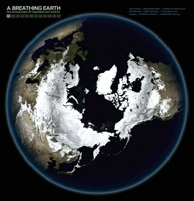 "A Breathing Earth: Watch the World's Seasonal ""Heartbeat"" from Outer Space 