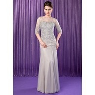 [US$ 186.99] Trumpet/Mermaid Scoop Neck Floor-Length Chiffon Tulle Mother of the Bride Dress With Beading Sequins (008019704)   fantastic dresses   Scoop.it