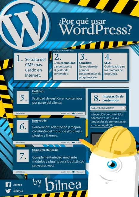 Por qué usar WordPress #infogafia #infographic #socialmedia | Seo, Social Media Marketing | Scoop.it