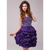 [€ 113.54] Corte A/Princesa Escote corazón corto rodilla-longitud Tafetán Baile de promoción con Volantes Bordado (016013963) | fashion dress | Scoop.it