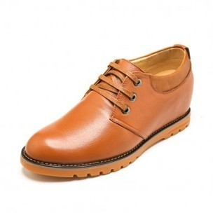 Fashion genuine leather taller shoes 7cm / 2.75inch yellow plain toe lace up dress shoes on sale at topoutshoes.com | Elevator Casual shoes men height increasing Taller | Scoop.it