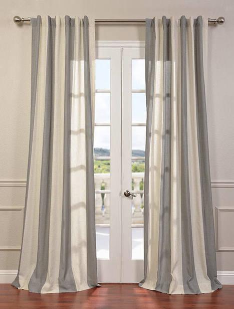 Del Mar Gray Linen Blend Stripe Curtain | window curtains | Scoop.it