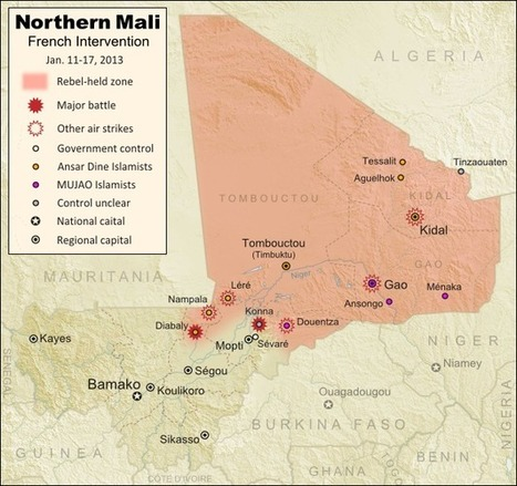 Mali Map: Islamist Control & French Intervention   Geog-on Golland   Scoop.it