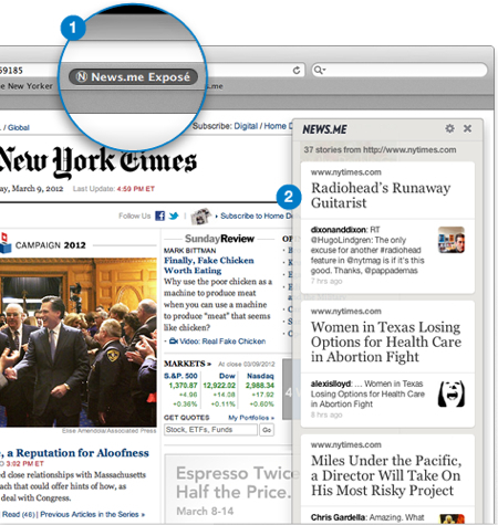 News.me Exposé Is A Bookmarklet That Lets Your Friends Be The Editors | Nieman Lab | Media for Change | Scoop.it