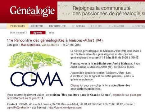 14 juin 2014 à Maisons-Alfort | CGMA Généalogie | Scoop.it
