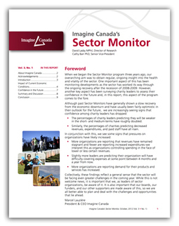 Imagine Canada's Sector Monitor, October 2012 | Nonprofit Communications in Canada | Scoop.it