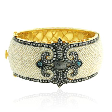 18k Gold Pearl Bangle | Gold Jewelry | GemcoDesigns | Pave Diamond Palm Bracelets | Diamond Jewelry | GemcoDesigns | Scoop.it