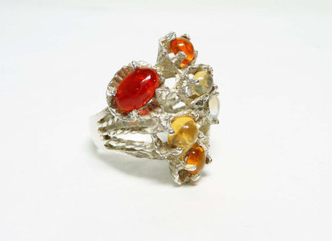 Amber Sterling Silver Ring - Abstract Sandcast style marked 925 - Large Statement Design | Vintage Jewelry and Fashions | Scoop.it