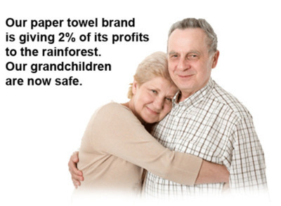 Our paper towel brand is giving 2% of its profits to the rainforest. Our grandchildren are now safe. | funny-marketing-ads | Scoop.it