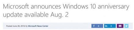 Microsoft reveals Windows 10 Anniversary Update release date | Freewares | Scoop.it