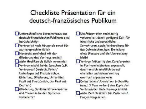 DE: Checkliste deutsch-französiche Präsentation | DE: ein deutsch-französisches Seminar organisieren - FR: organiser un séminaire franco-allemand | Scoop.it