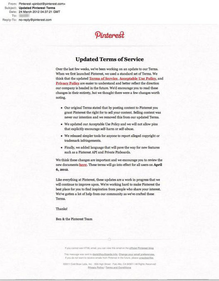 Pinterest, API en cours de développement et refonte des termes d'utilisation   Last Social Media News   Scoop.it