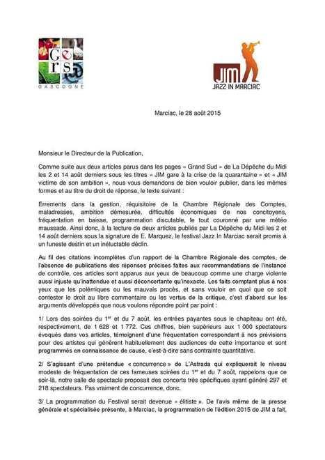 Droit de réponse (JIM - Jazz in MArciac) au directeur de la publication de La Dépêche du Midi | coups de coeur & état d'âme | Scoop.it