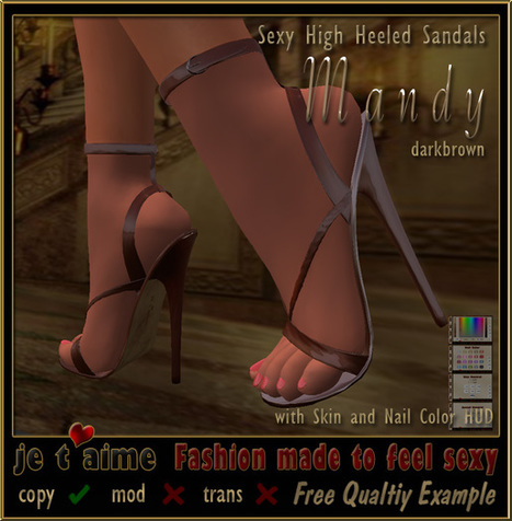 Sexy High Heeled Sandals Mandy Dark Brown by Jetaime | Teleport Hub | Second Life Freebies | Scoop.it