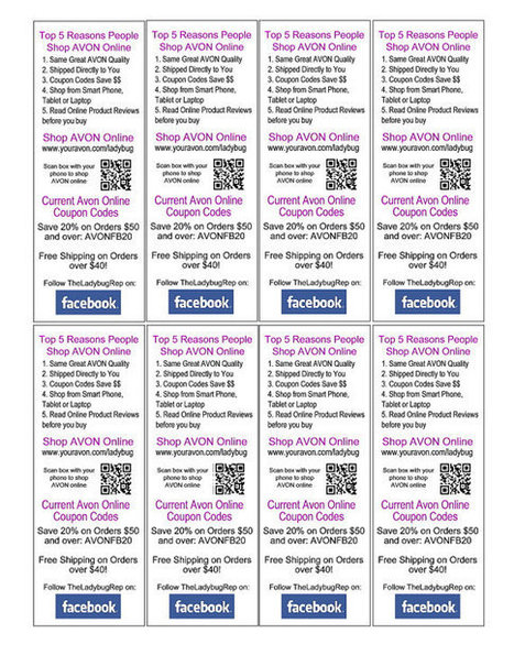 AVON Shop Online Brochure Bookmarks -  Colorful and Customized with your info. and QR Code- Download and Print yourself | QR Codes, Beacons & NFCs | Scoop.it