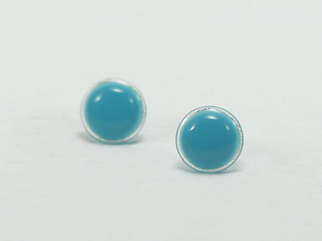Turquoise Stud Earrings 12mm - Turquoise Earrings - Bright Turquoise Round Modern Stud - Hypoallergenic Surgical Steel Post Earrings | Jewelry & Accessories | Scoop.it