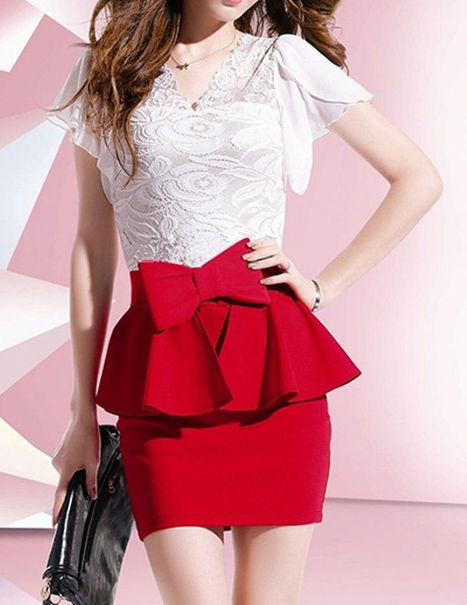 New Elegant V-Neck Women Office Lace Dress with Bow   Women Dresses   Scoop.it