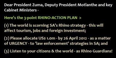 VUKA, President Zuma, VUKA ! We need US$ 1.0m URGENTLY for RHINO law enforcement. | What's Happening to Africa's Rhino? | Scoop.it