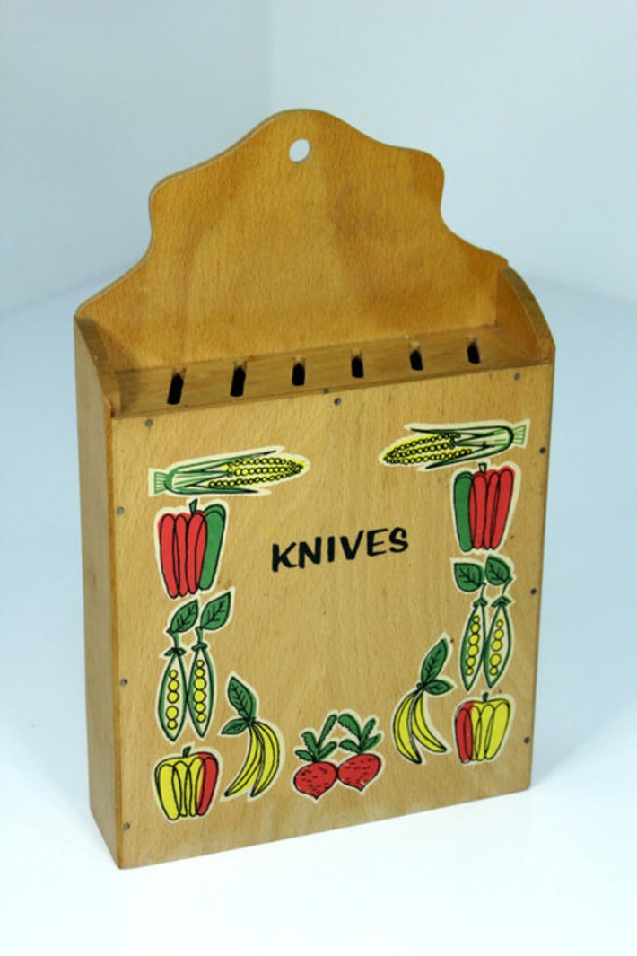Vintage Mid-Century Modern Wooden Wall Knife Holder Box By Nevco Kitschy Cute Veggies Vegetables Decals Hanging Knife Block Storage | Antiques & Vintage Collectibles | Scoop.it