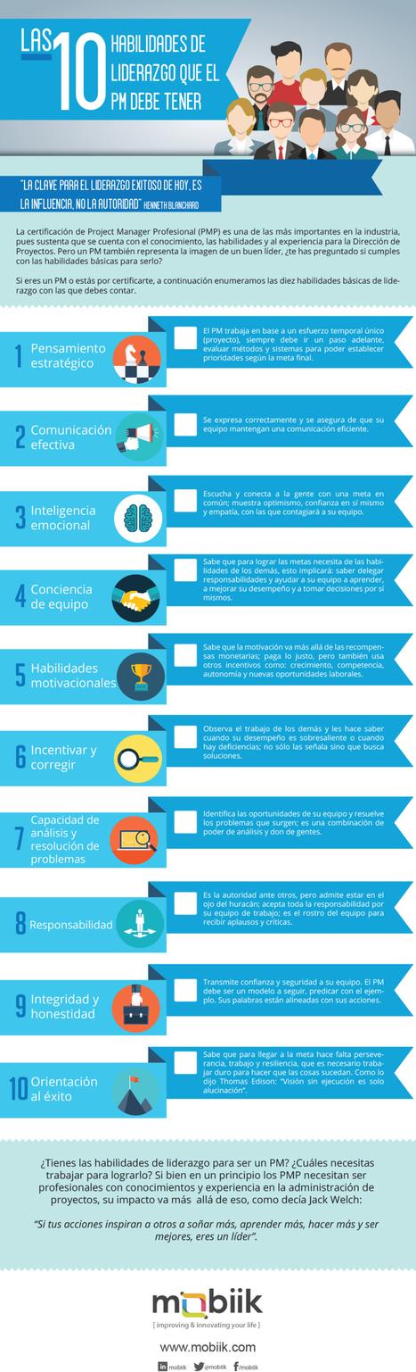 10 habilidades de liderazgo que un Project Manager debe tener #infografia #leadership | El rincón de mferna | Scoop.it