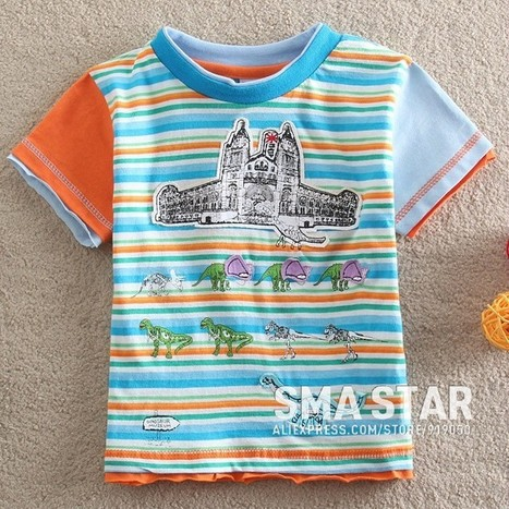 Baby Boy Lovely Printed Short Sleeve Striped T Shirt | Clothing at SMA-STAR | Scoop.it