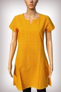 Yellow Cotton Printed Half Sleeves Kurti | Kurtis for Women | KURTIS | Scoop.it