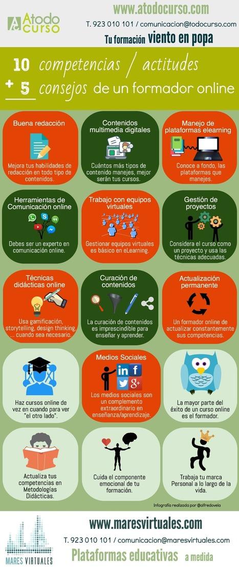 10 competencias + 5 consejos de un formador online #infografia #infographic #elearning | De aquì, de allà y de otras partes... | Scoop.it