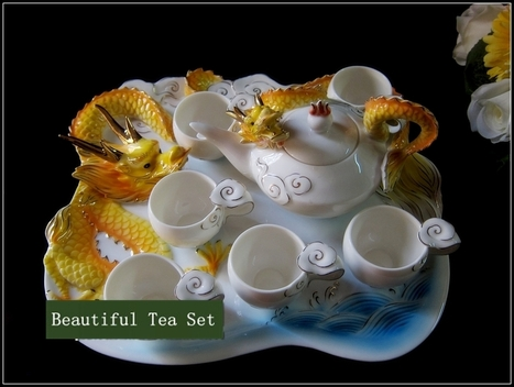 Auspicious Dragon creative special offer free shipping enamel porcelain tea set with tray cup New Year Spring Festival gift to s | Black Tea | Scoop.it