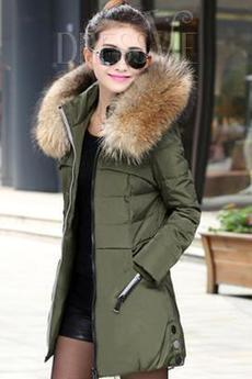Green/Black Hooded Woolen Long Sleeve Thicken Overcoat | fashion clothes | Scoop.it
