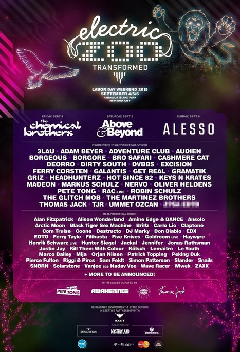 Electric Zoo: Transformed unveils 2015 lineup with deep artist roster and new stage curators | DJing | Scoop.it