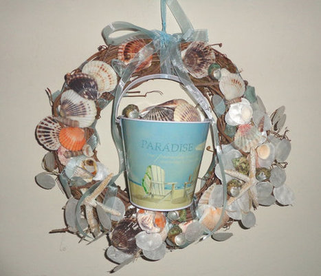 Beach Wreath Seashells Beach Pail Collecting Seashells Paradise Grapevine Wall Hanging | Candy Buffet Weddings, Events, Food Station Buffets and Tea Parties | Scoop.it