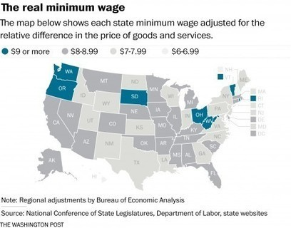 Map: How geography affects the value of the minimum wage | INTRODUCTION TO THE SOCIAL SCIENCES DIGITAL TEXTBOOK(PSYCHOLOGY-ECONOMICS-SOCIOLOGY):MIKE BUSARELLO | Scoop.it